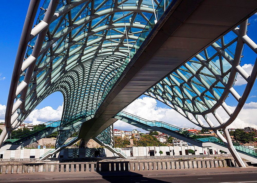 Georgia, Tbilisi City, The Peace Bridge.