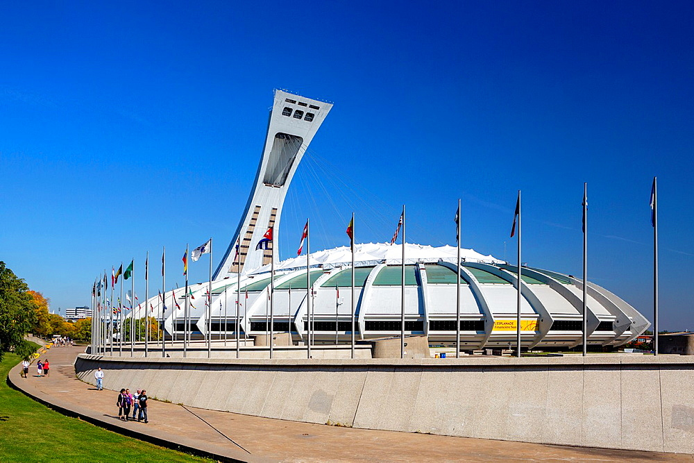 Canada , Quebec Province , Montreal City ,Montreal Olympic Stadium and Montreal Tower.