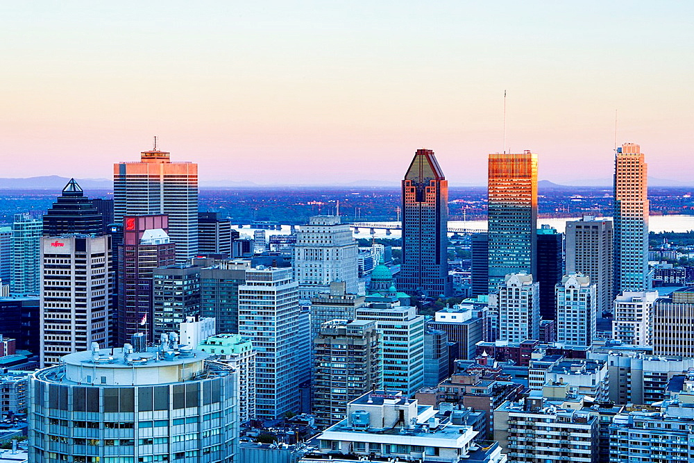 Canada , Quebec Province , Montreal City , Montreal City Skyline from Mont Royal Belvedere.