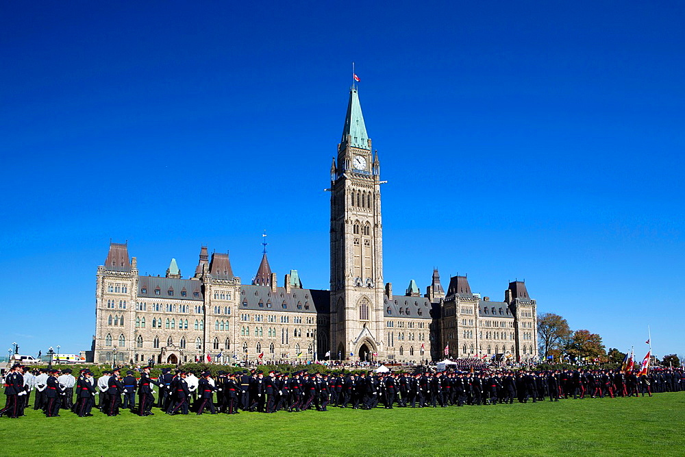 Canada , Ottawa City ,Parliament Bldg. Central Block , Police Parade.