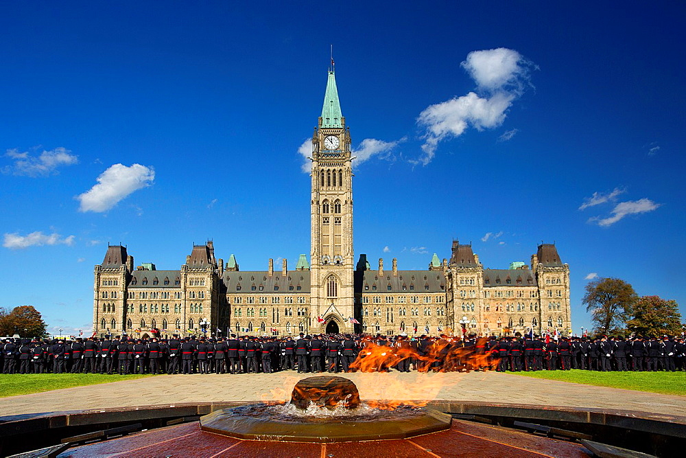 Canada , Ottawa City ,Parliament Hill, Central Block, Centenialle Flame.