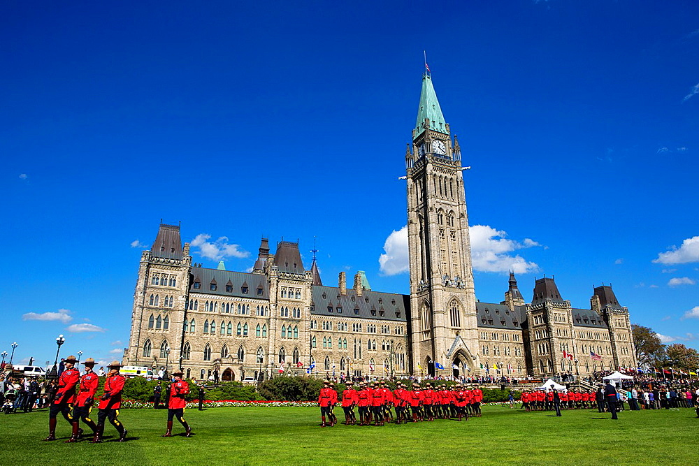 Canada , Ottawa City ,Parliament Hill, Parlament Bldg. Central Tower , Canadian Mounted Guards Parade.