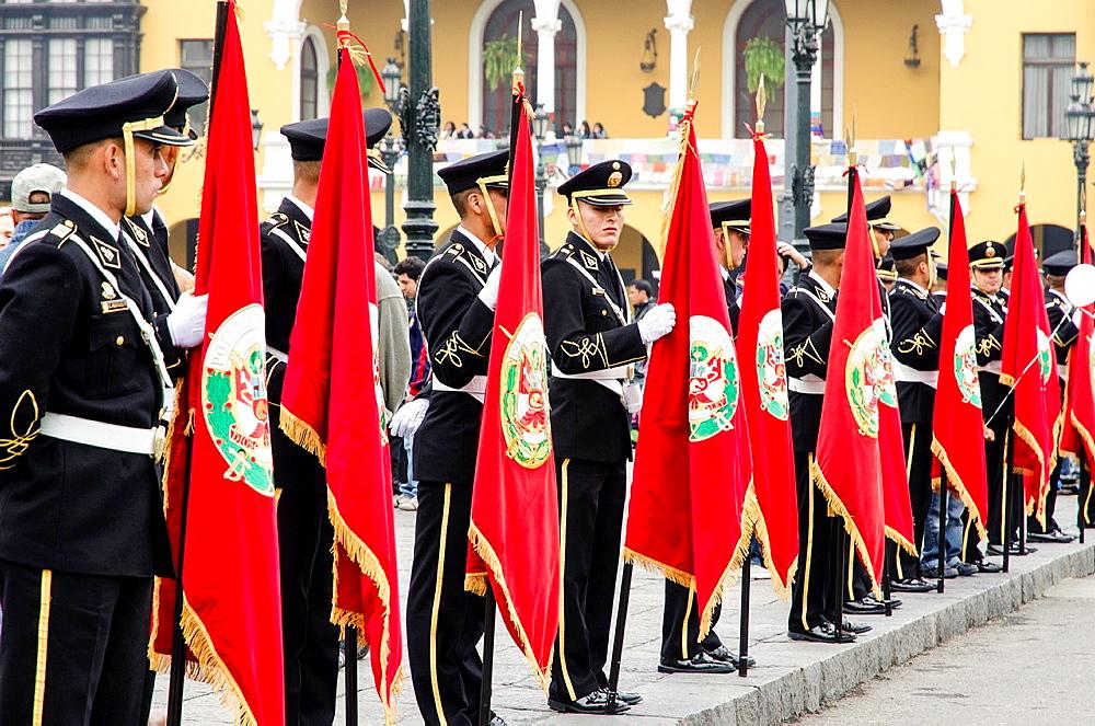 Military parade in Lima, Peru.