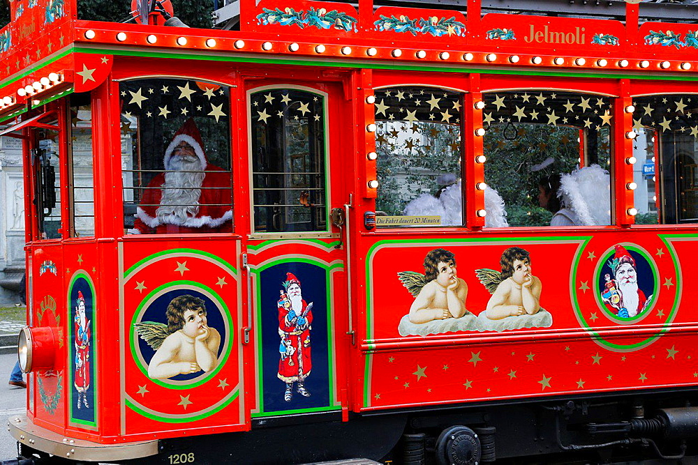 Switzerland, Zurich, Santa Klaus tramway at Christmas