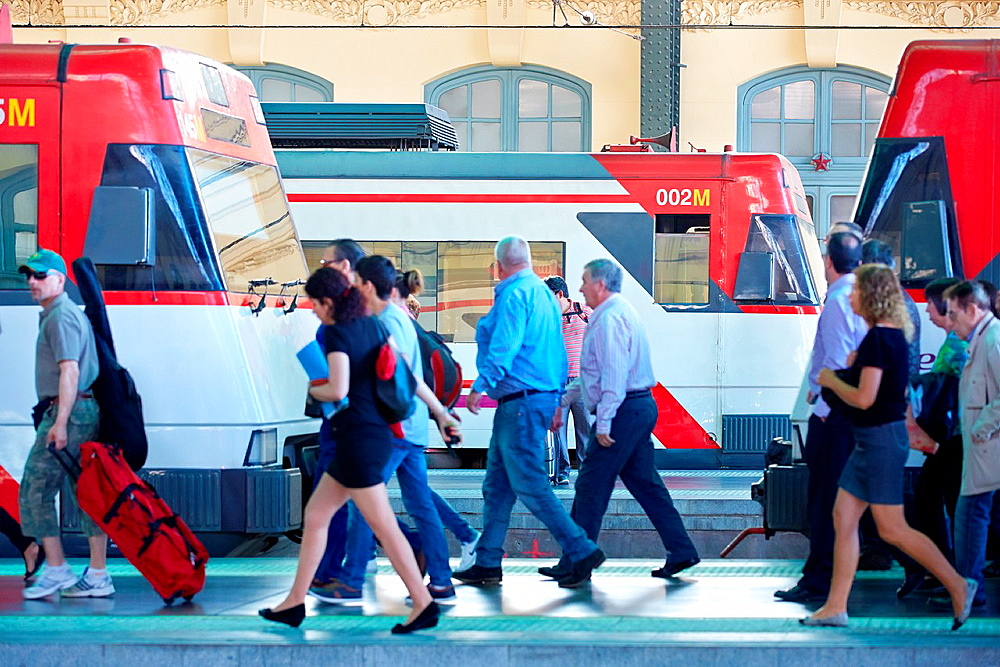 Trains. North Railway Station. Valencia. Comunidad Valenciana. Spain.