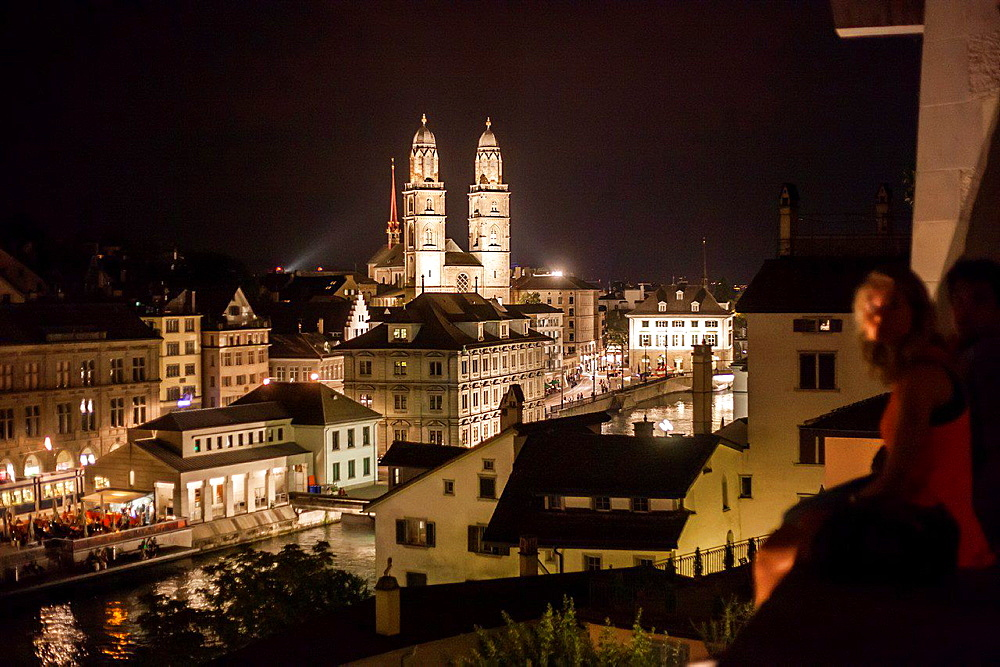 Switzerland, Zurich, night view.