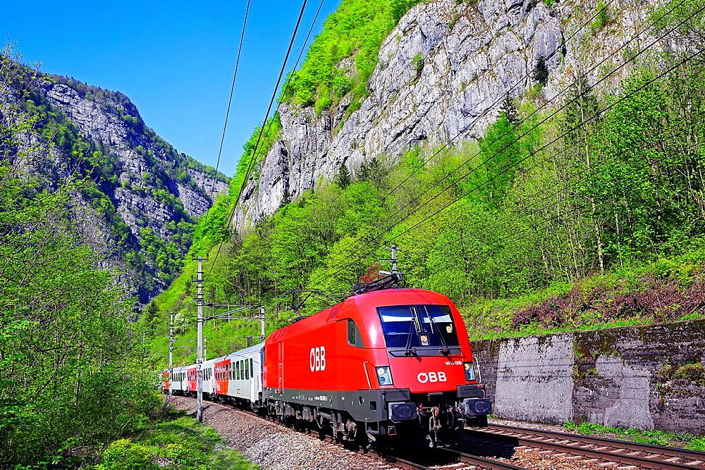Austrian Federal Railway, oBB, Passenger train in the Salzach valley