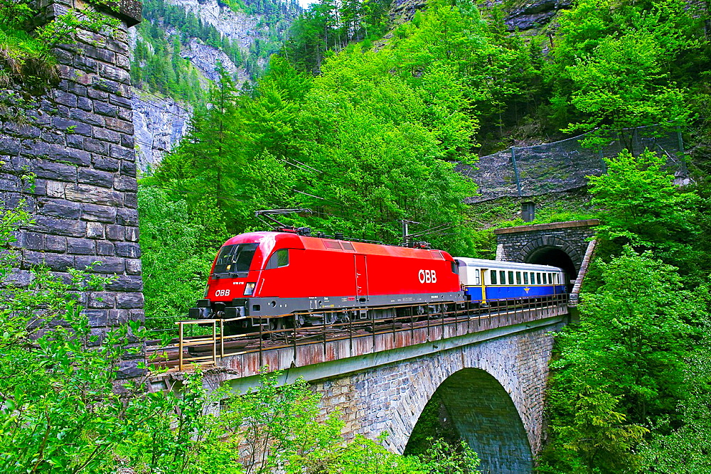 Austrian Federal Railway, oBB, Passenger Train on the Klamm tunnel