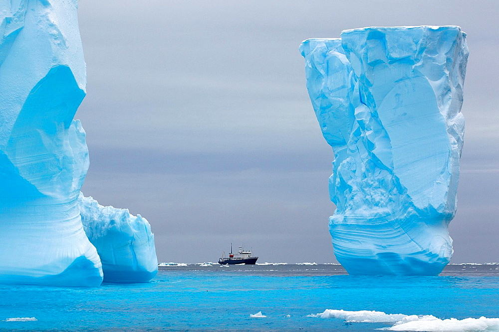 Adventure research ship Spirit of Enderby amongst ice bergs in the ice floe in the southern ocean, 180 miles north of East Antarctica, Antarctica - 817-450376