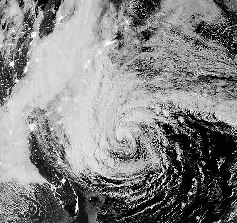 Satellite view, Hurricane Sandy, October 28, 2012