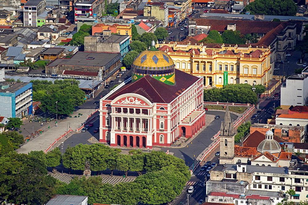 Brazil, Amazonas state, aerial view , Manaus, Praca Sao Sebastiao, Amazonas theater. - 817-450789