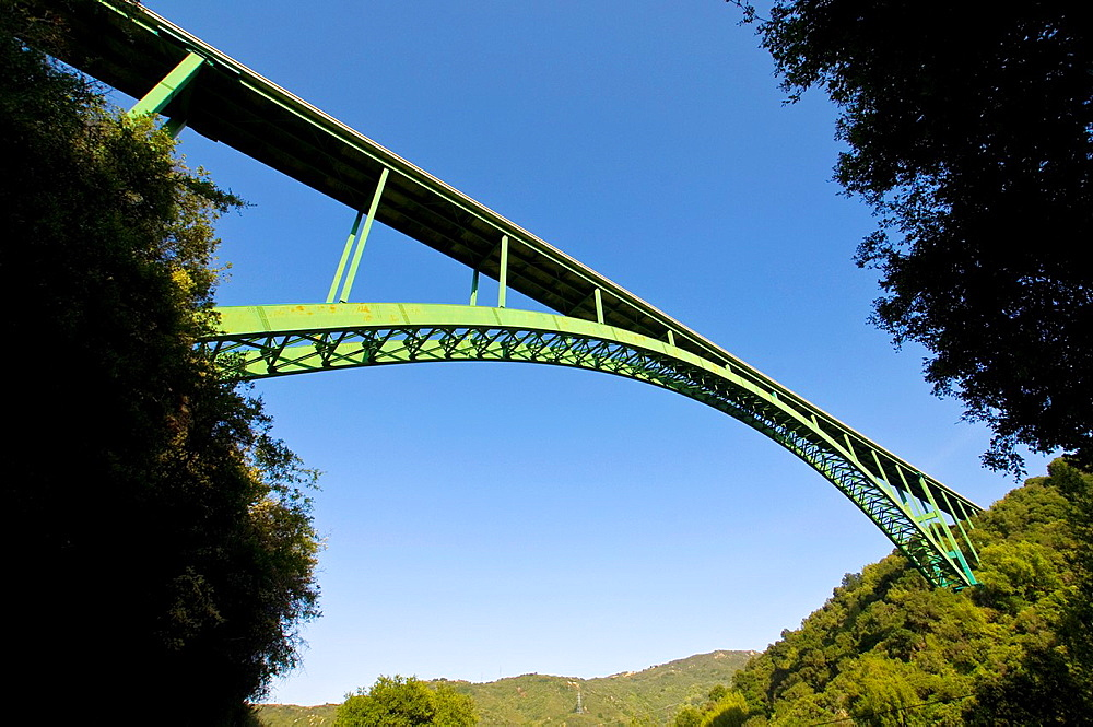 Steel arch bridge on Highway 154, bypassing the old stagecoach route between Santa Barbara and Santa Ynez, California.