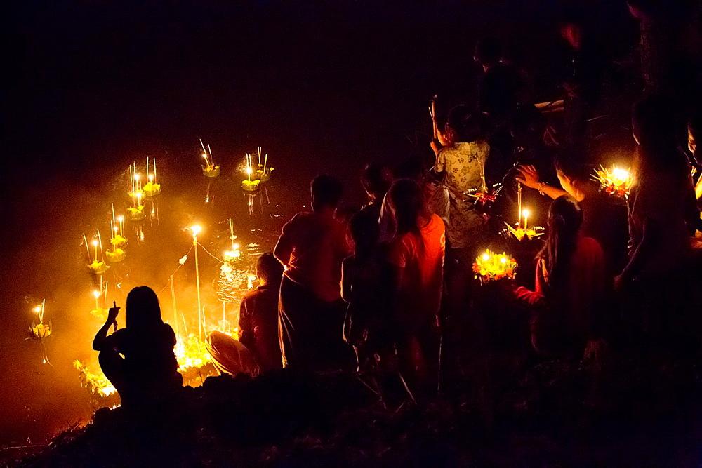 Loy Krathong festival of light in Paske, Laos.