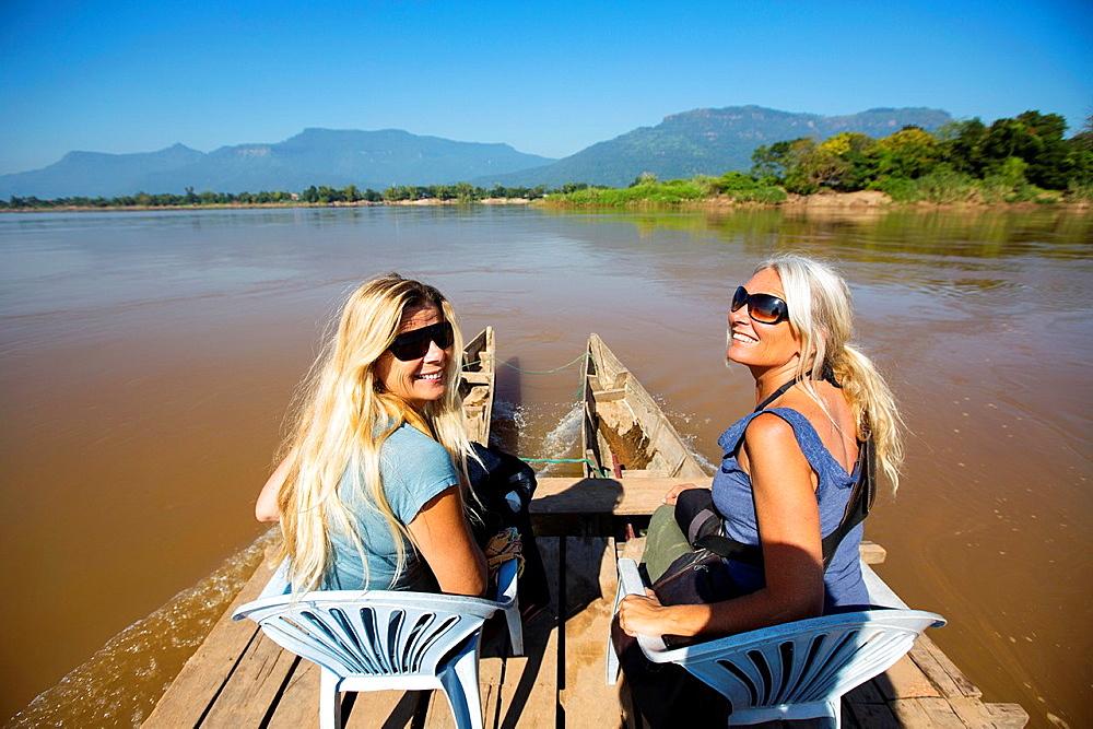 Crossing the Mekong River in Champasak, Laos.