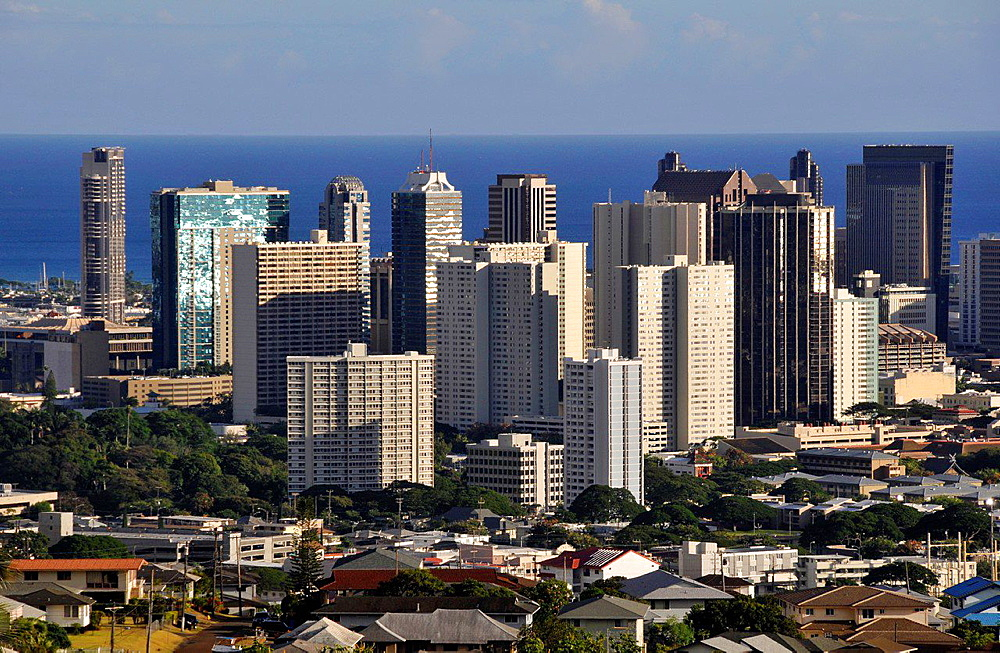 Buildings in downtown Honolulu, Oahu, Hawaii, USA.
