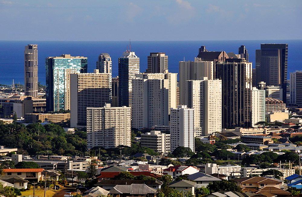 Buildings in downtown Honolulu, Oahu, Hawaii, USA.