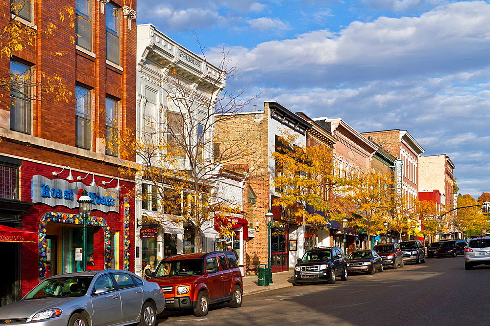Downtown main street and shops in Petoskey, Michigan, USA