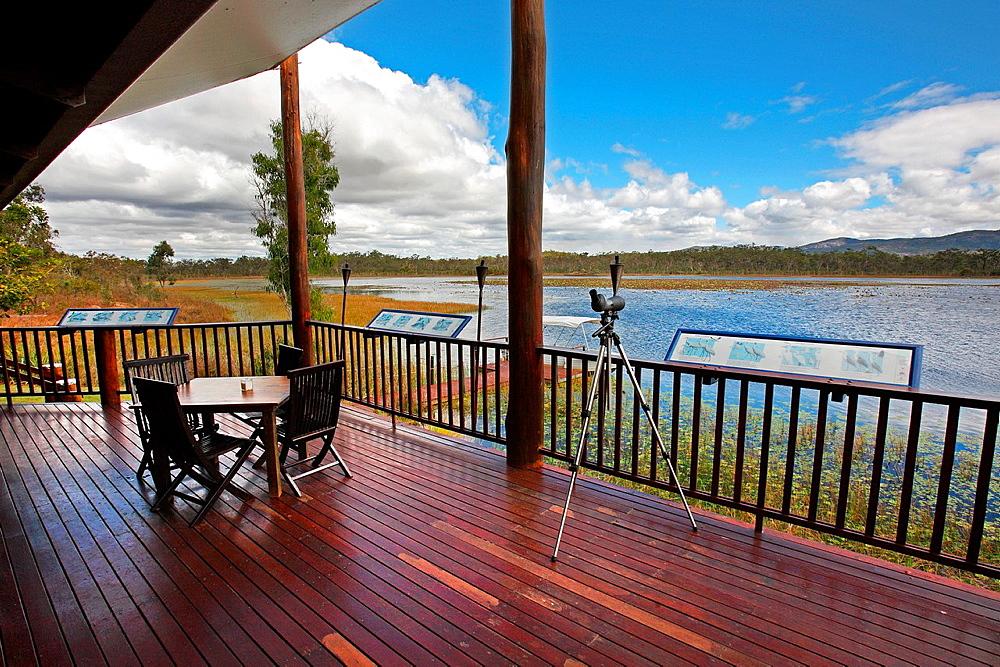 Mareeba Wetlands Ecolodge viewing platform. Atherton Tablelands, Queensland, Australia.