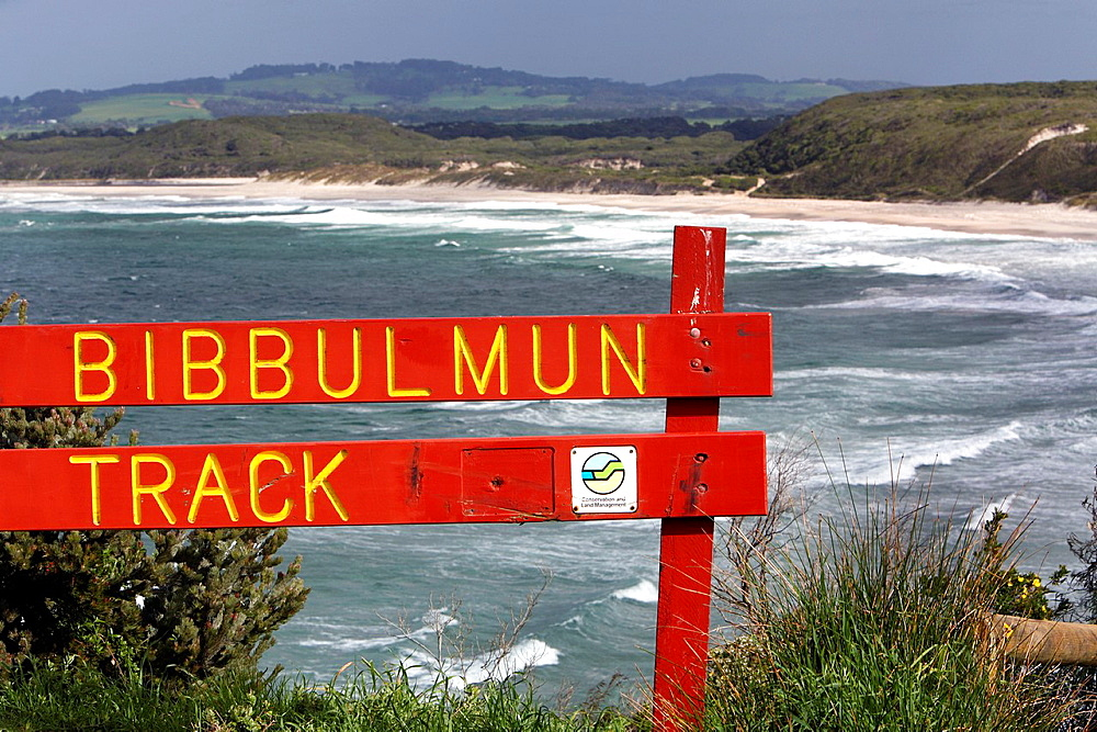 Bibbulmun Track sign near Albany. Southwest Western Australia.