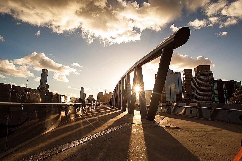 Pedestrain bridge from the MCG stadium to Birrarung Marr park, Melbourne Australia.