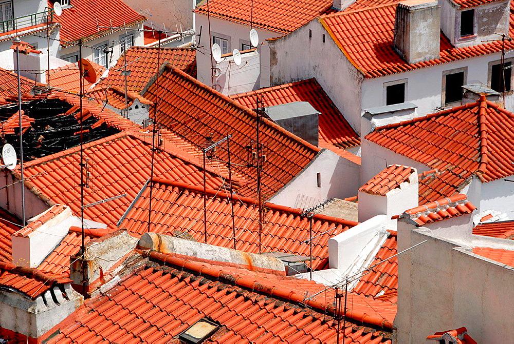 Roofs. Alfama, Lisbon, Portugal.