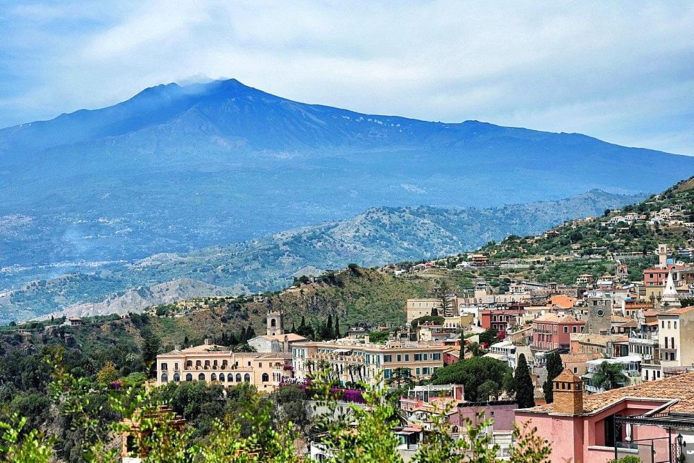 Taormina view and Etna volcano, Sicily, Italy