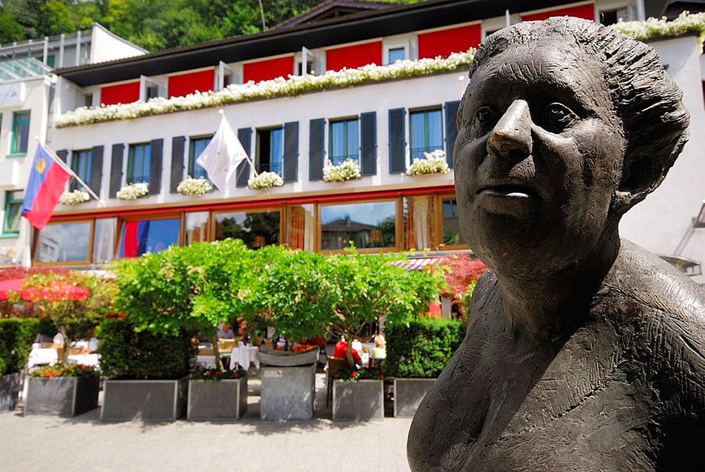 Sculpture in Vordergasse in center of Vaduz, Liechtenstein