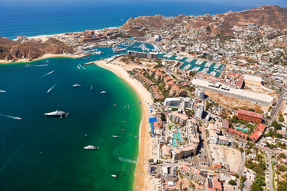 Harbour of Cabo San Lucas and Medano Beach, Cabo San Lucas, Baja California Sur, Mexico.