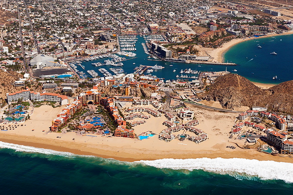 Playo Solmar Beach and Harbour of Cabo San Lucas, Cabo San Lucas, Baja California Sur, Mexico.