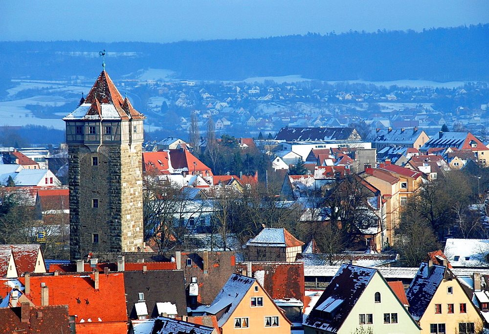 View of Rothenburg ob der Tauber on a winter day