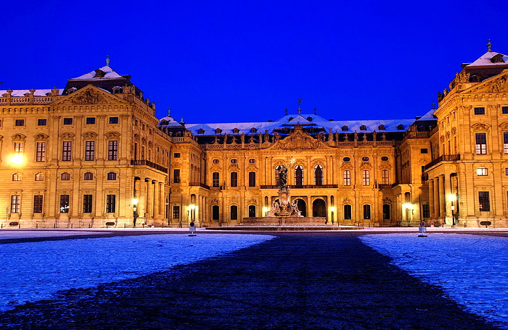 Wurzburg Residence on a winter evening