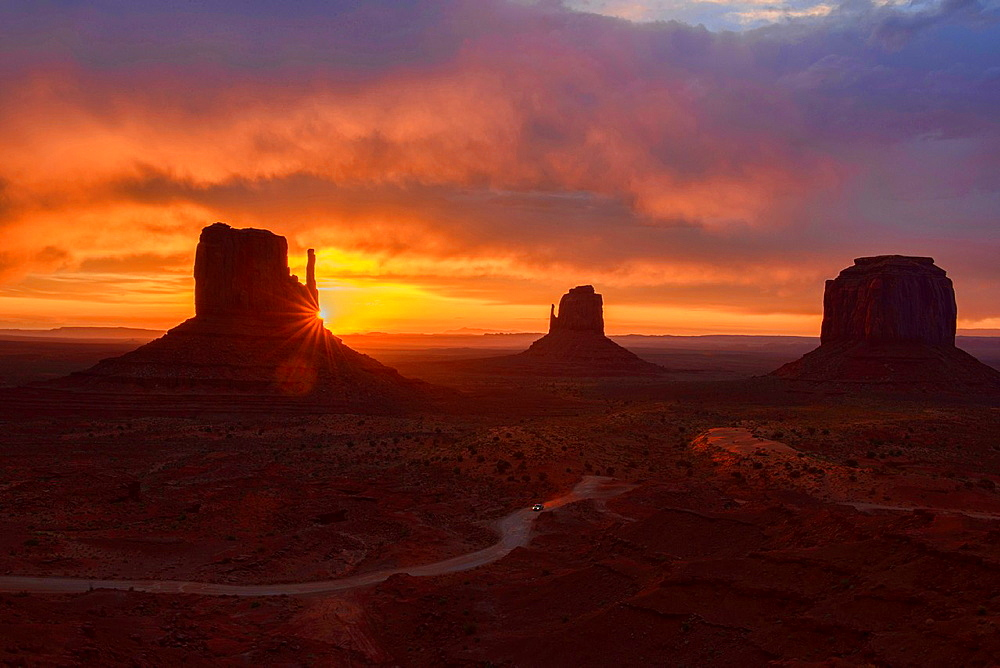 dramatic sunrise at Monument Valley, Arizona-Utah border.