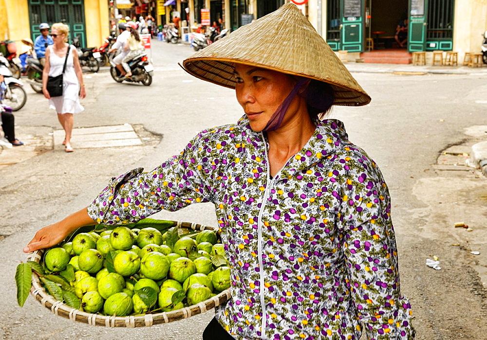 guava vendor in Hanoi, Vietnam.