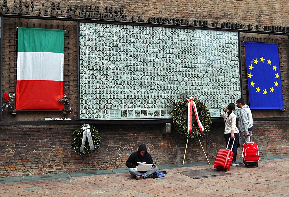 Bologna, Italy, photos of Partigiani that died during the Second World War, in Piazza del Nettuno