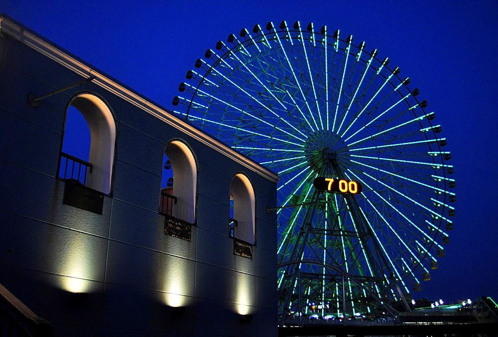 Yokohama, Japan, Cosmo World amusement park at night in Minato Mirai