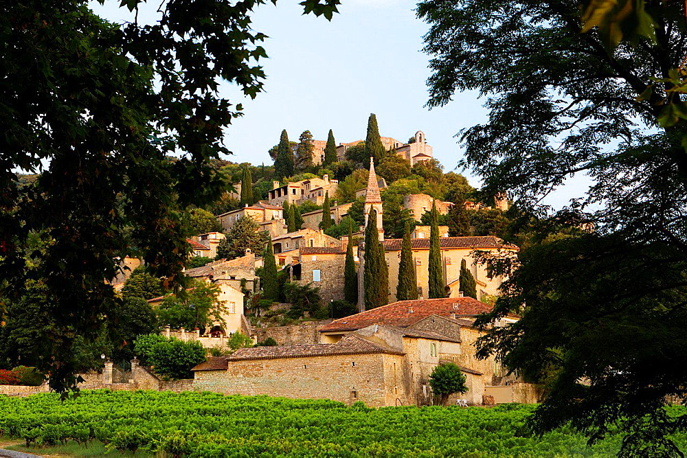 Overview of Roque-sur-Ceze, labelled The Most Beautiful Villages of France, in Gard deparment, Languedoc-Roussillon region. France.