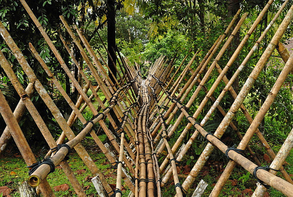 A bamboo bridge at Sarawak Cultural Village.