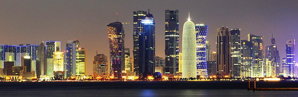 Doha's financial center at night.