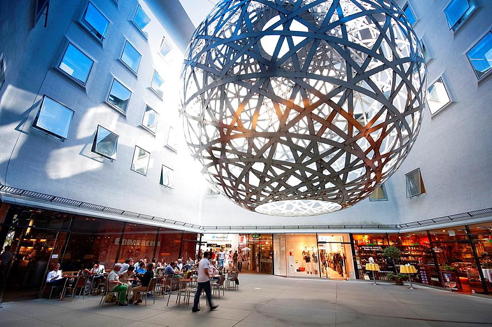 Germany, Bavaria, Munich, Fuenf Hoefe, Shopping Passage, Art Installation by Olafur Eliason.