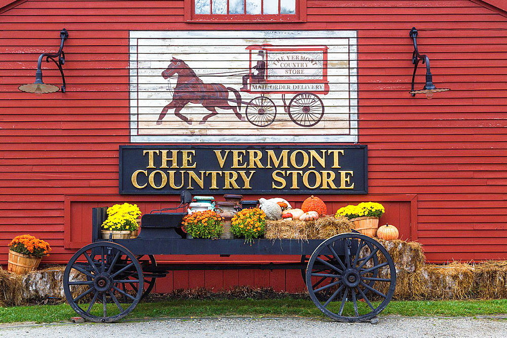 Decoration in front of the Vermont Country Store, founded 1946, Weston, Vermont, USA