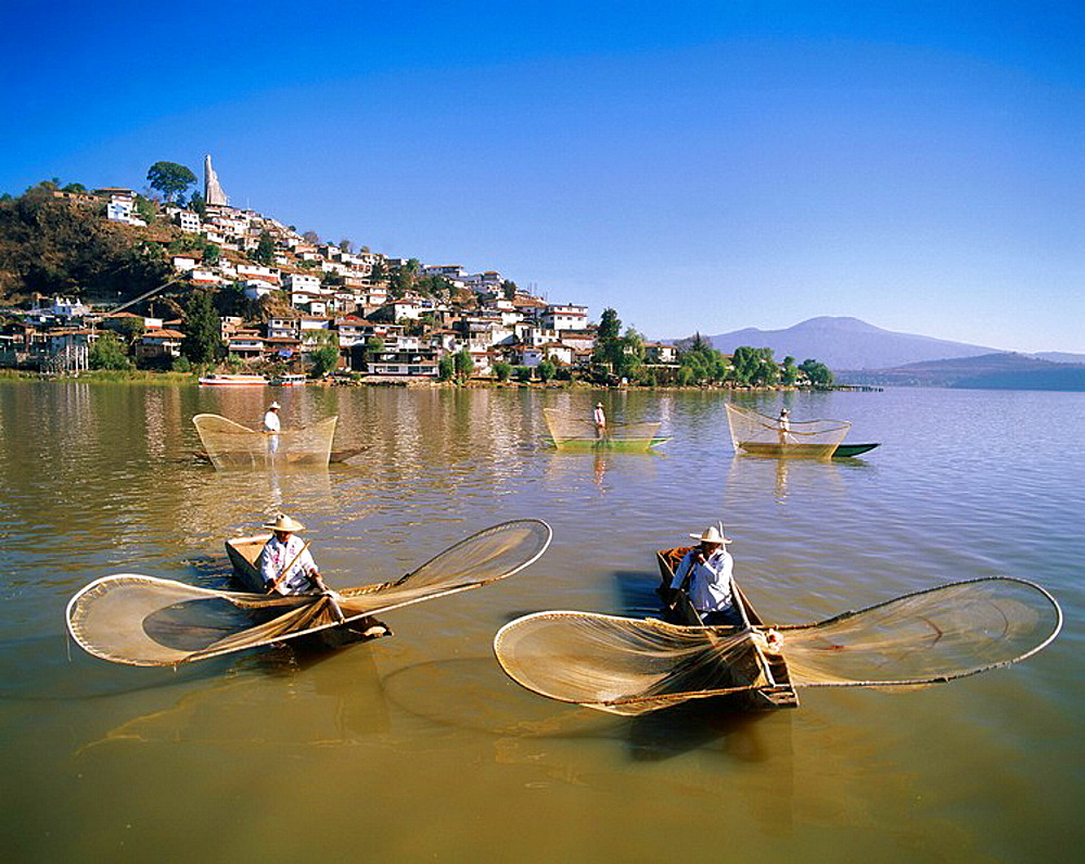 Tarascan fishermen with butterfly nets, Lake Patzcuaro, Michoacan State, Mexico