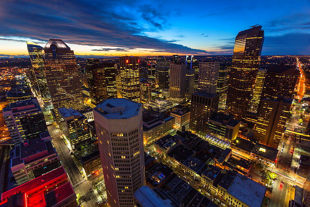Aerial view of Downtown Calgary in Alberta at night, Canada
