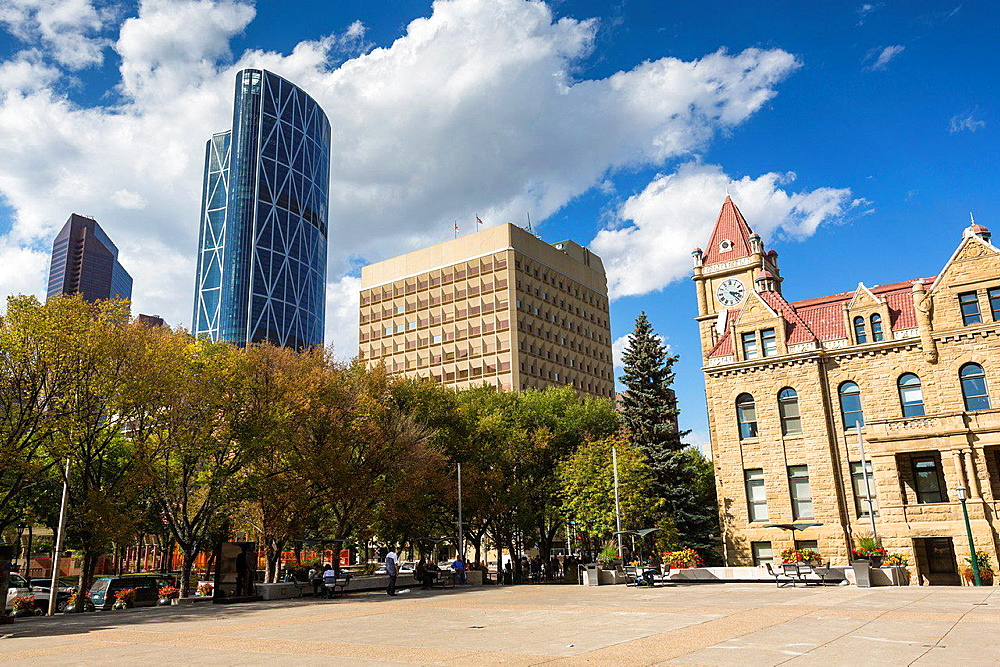 The picturesque city hall and Bow Tower in Calgary, Alberta, Canada