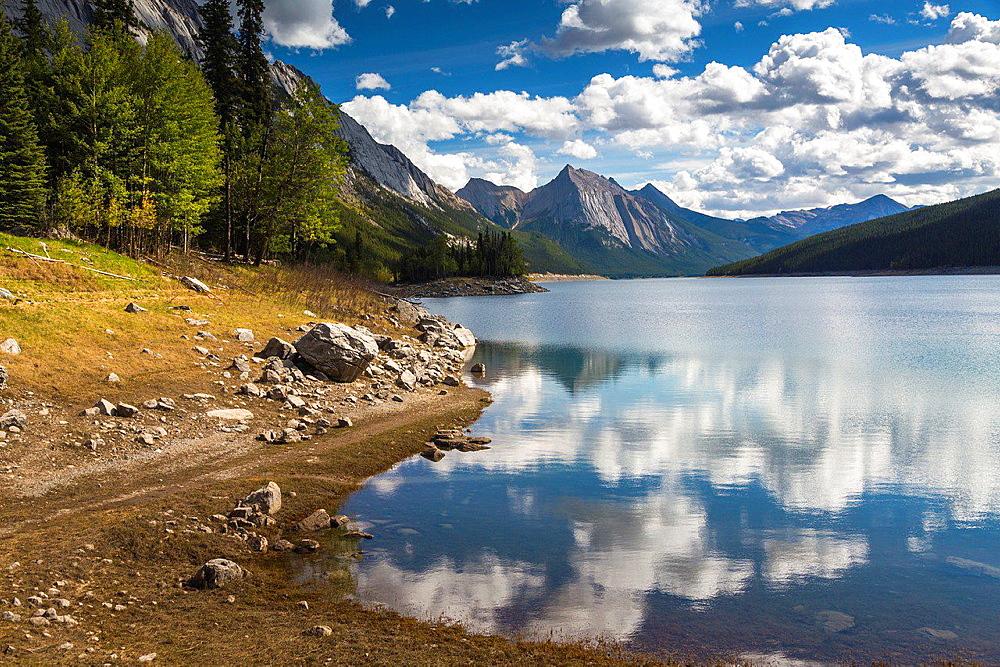 Medicine Lake in the Jasper National Park, Alberta, Canada
