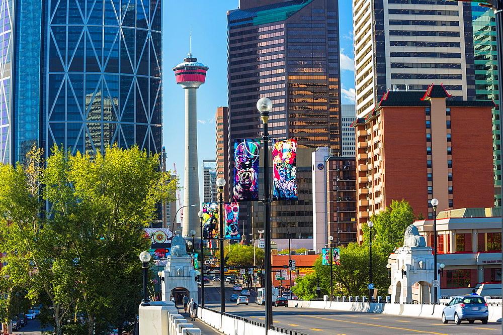 Skyscrapers, Bow Tower and Calgary Tower seen from Centre Street Bridge, Calgary, Alberta, Canada