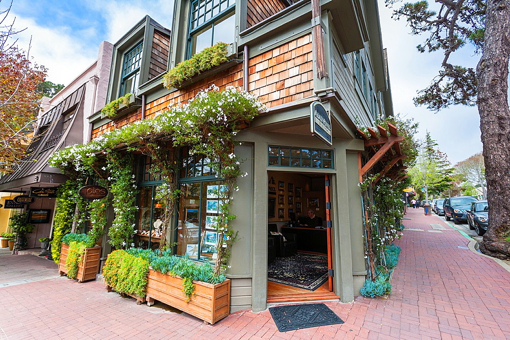 Picturesque front of a shop in Carmel-by-the-Sea, California, USA