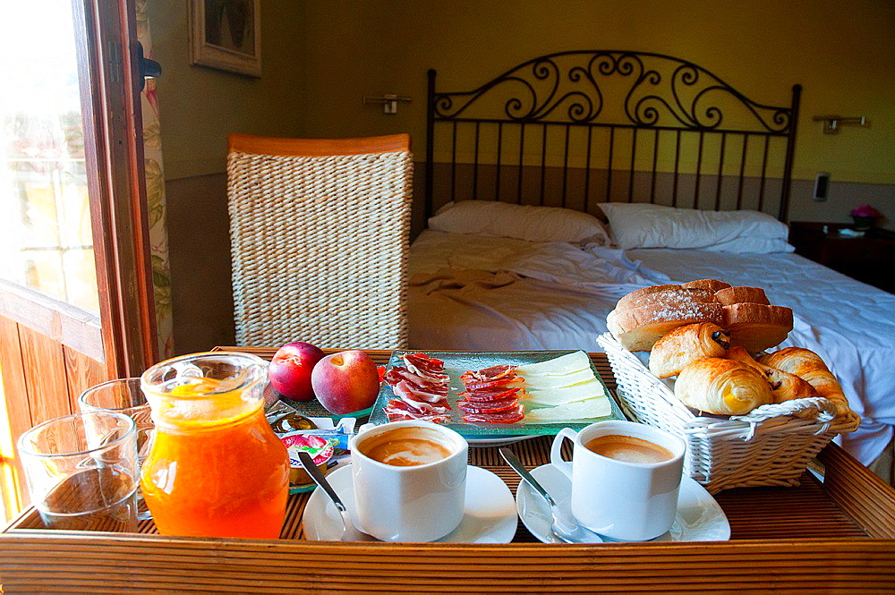 Breakfast for two in a rural hotel.