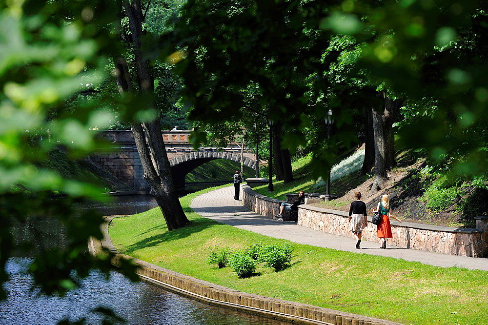 Pilsetas Canal banks surrounding the Old Town of Riga, Latvia, Baltic region, Northern Europe