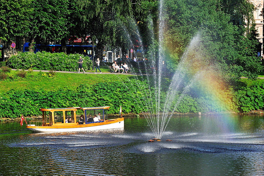 boat trip on the Canal surrounding the Old Town of Riga, Latvia, Baltic region, Northern Europe