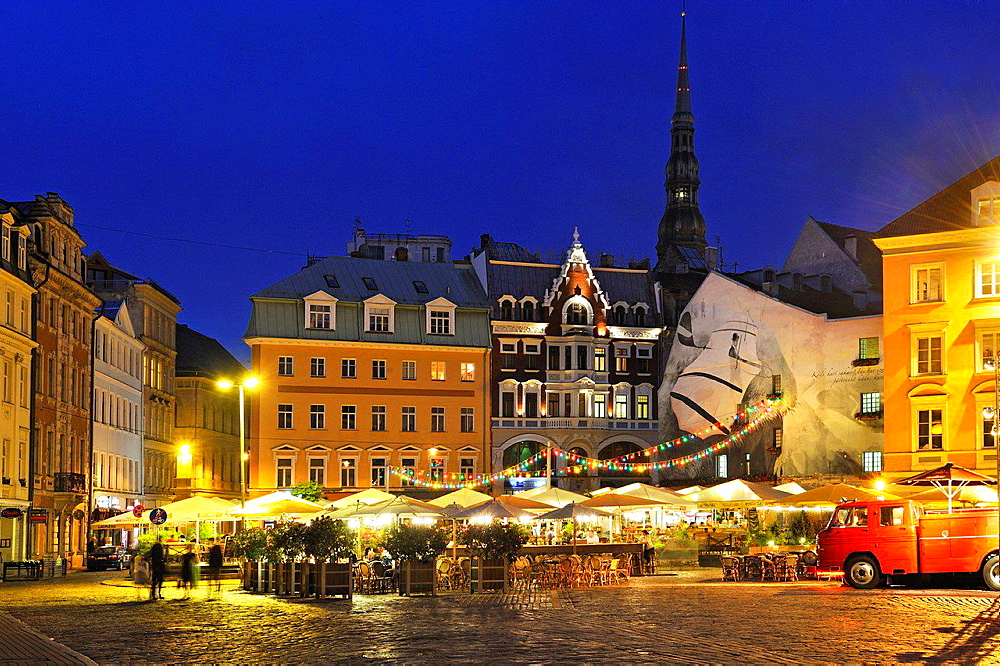 terraces of cafe on Dome Square by night, Old Town, Riga, Latvia, Baltic region, Northern Europe